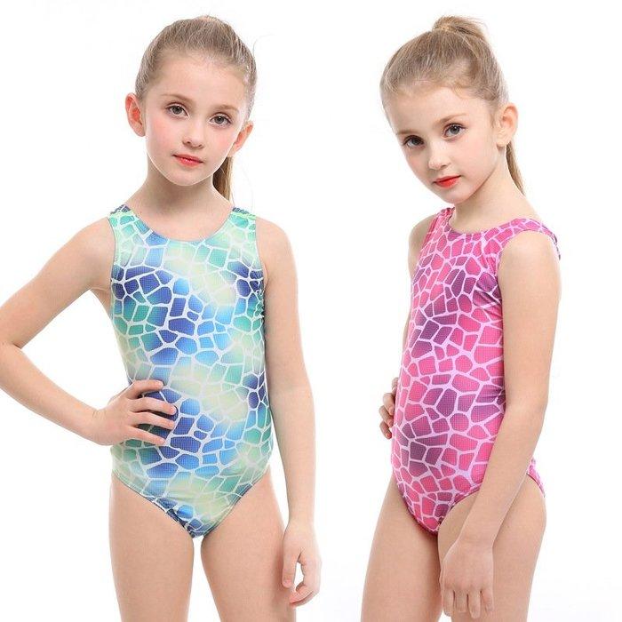 【小阿霏】兒童訓練泳衣 女童漸層魚鱗款訓練三角連身式泳裝 女孩一件式競速泳衣SW77