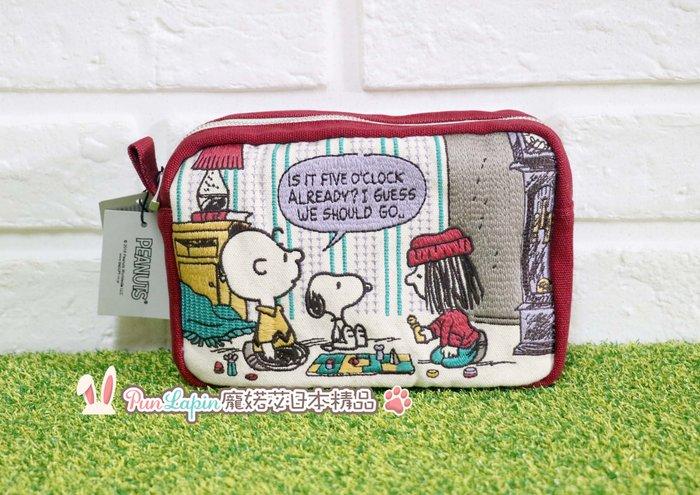 (現貨在台)日本正品 PEANUTS 史努比 SNOOPY 帆布 萬用包 隨身包 包中包 化妝包 筆袋 優質刺繡 紅色款