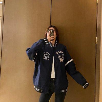 MLB NY 紐約洋基隊徽紀念版棒狗頭棒球夾克外套 情侶款Trait 刺繡棒球棉服外套
