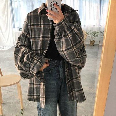 復古格子寬松泡泡袖襯衫外套女裝新款韓版百搭中長款長袖上衣襯衣