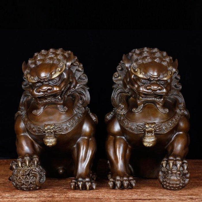 【睿智精品】中式居家擺設 鎮宅銅獅一對 風水擺件 客廳擺設 銅製(GA-4403)