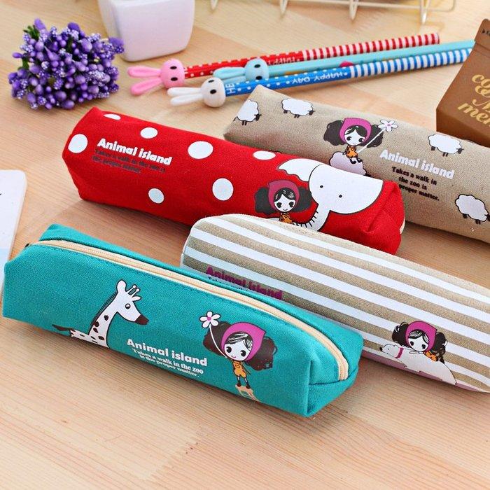 ☆女孩衣著☆復古款可愛文具袋盒新款韓國普拉女孩方形筆袋 鉛筆袋收納袋鉛筆盒文具(NO.2)