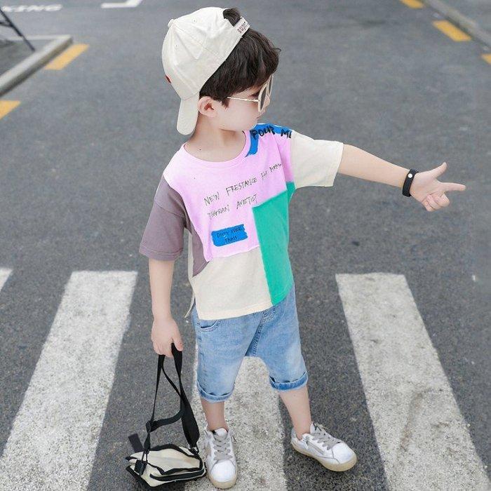 [男童套裝] 兒童兩件套 夏天衣服 拼接短袖T恤 大童套裝 小男孩休閒牛仔褲 兩件式套裝 童裝 套裝SF54145