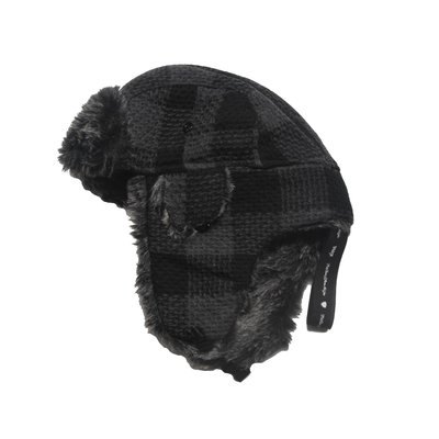 【 PUNX 】PUNX 20AW SPLICE PLAID FLIGHT CAP 針織毛線格紋蓋耳飛行帽
