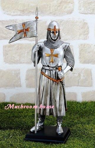 點點蘑菇屋{中古武士擺飾十}十字軍 鐵甲武士 全身盔甲拿馬爾他徽章旗幟 羅馬武士 免運