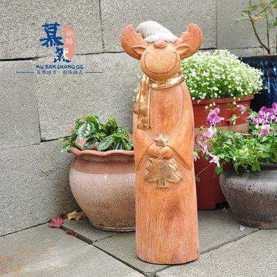 宏美飾品館~外貿鄉村復古仿木抱圣誕樹小鹿 圣誕花園庭院園藝擺件裝飾孤品