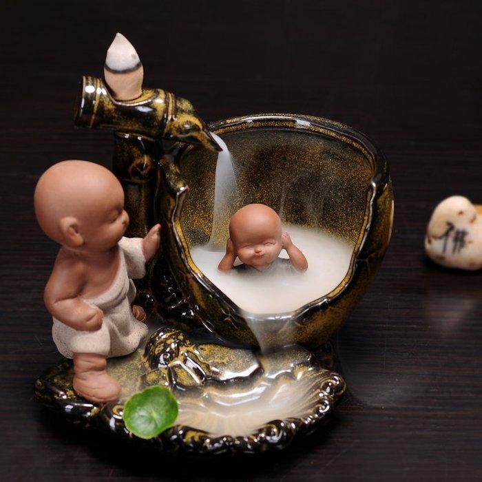 香道 茶道 陶瓷倒流香爐 司馬光砸缸香爐 小和尚居室塔香爐座