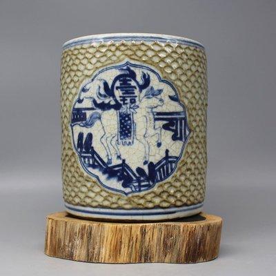 ㊣三顧茅廬㊣  明嘉靖青花獸紋筆筒四面壽字 老貨舊貨收藏