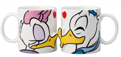 【元氣倉庫番】Disney 迪士尼系列 唐老鴨 親吻 對杯水杯 大口杯 馬克杯 超可愛的唐老鴨 黛絲 圖樣