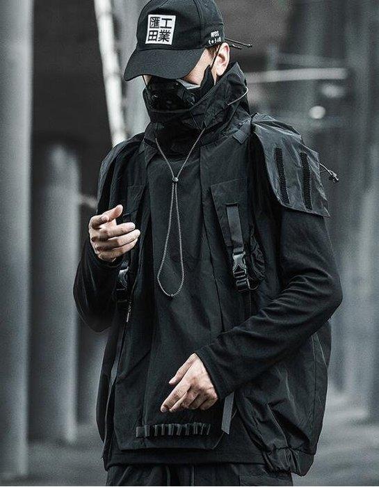 FINDSENSE X 男士男外套多口袋戰術馬甲男女潮牌無袖背心工裝外套