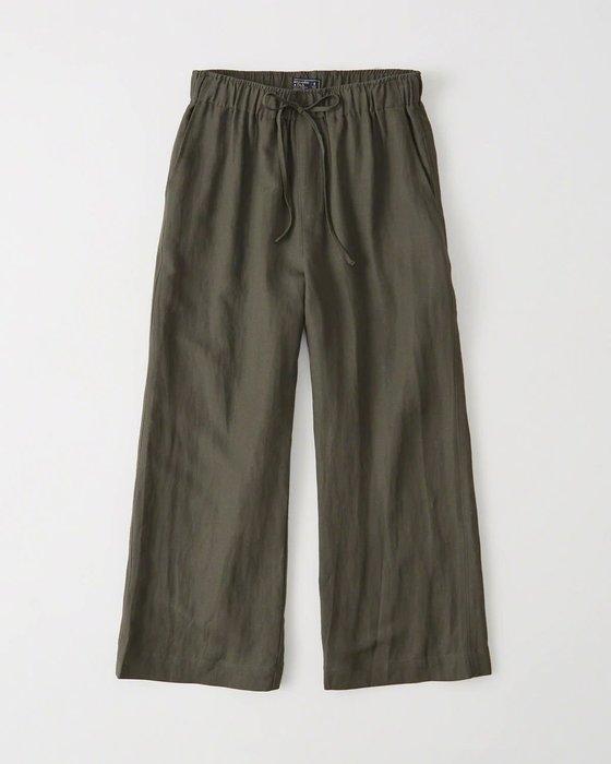 Maple麋鹿小舖 Abercrombie&Fitch * AF  深綠色綁帶長寬褲 * ( 現貨S/M號 )