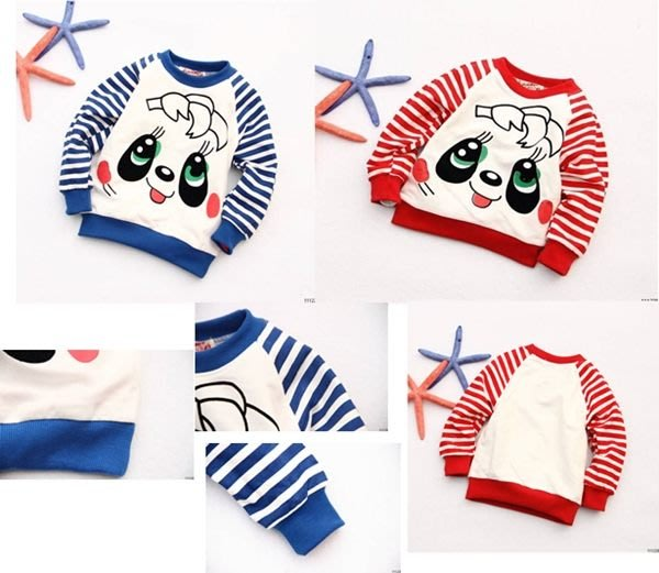 Pink&Angel-{05175}降價了 超低價 可愛款熊貓條紋上衣。紅色、藍色。現貨