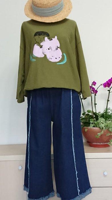 正韓國棉T/春裝新款印花九分袖上衣(老銀屋)