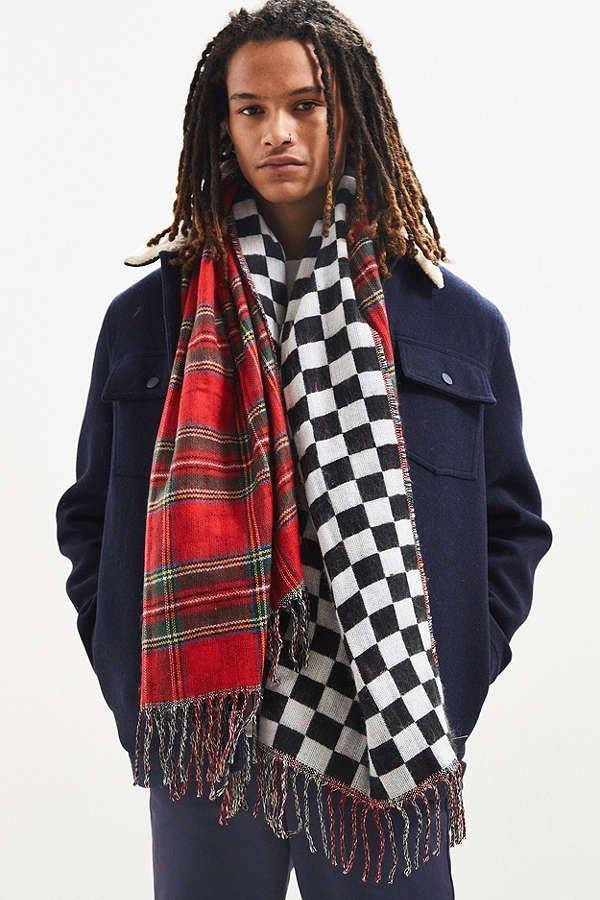 ☆ETW☆【一中店】 STUSSY DOUBLE FACED STADIUM BLANKE 格子 紅 披肩 圍巾