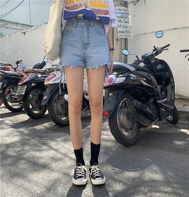 FINDSENSE 正韓女裝 G6 藍色 綁帶 淺色 淺藍 中高腰 女性 短褲 女褲 夜店 牛仔 低腰 超短熱褲 褲子