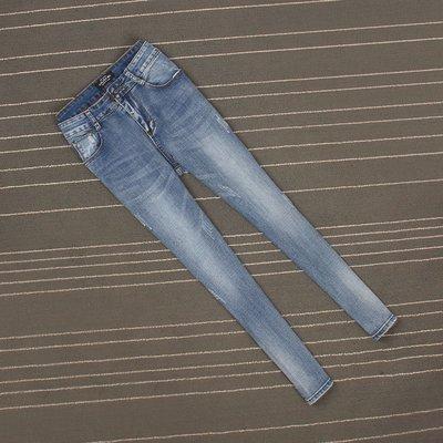 2018新品高腰薄款淺藍色大彈力磨白抓痕小腳褲女九分褲