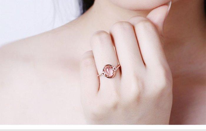 乾一韓版芙蓉石粉水晶女士日韓食指尾戒子開口戒指