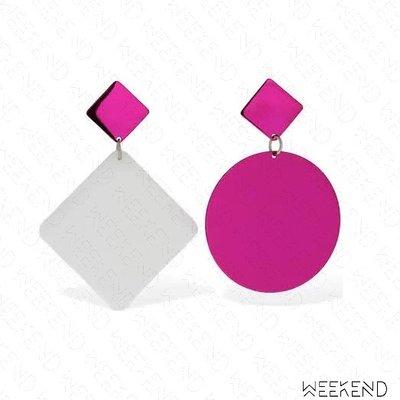【WEEKEND】 ISABEL MARANT New Asphalt 不對稱 圓形 菱形 一對 耳環 白粉