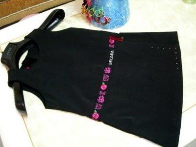 全新【ESCADA】 Swarovski crystal 施華洛士奇水晶絲絨LOGO玫瑰繡花黑色背心裙洋裝