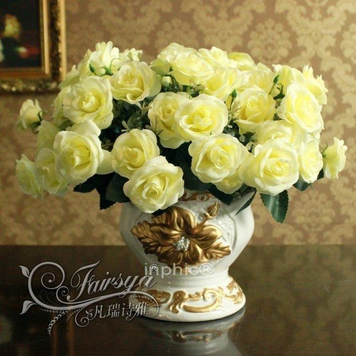 INPHIC-歐式家居擺設裝飾仿真花絹花法蘭西白玫瑰花瓶花藝套裝