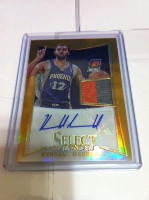 2012-13 NBA SELECT KENDALL MARSHALL 金亮親筆簽名衣服卡〈限量10張〉