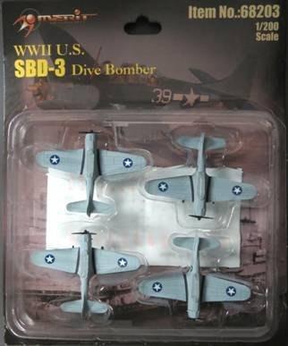 【MERIT 68203】1/200 美國 SBD-3 無畏式 俯衝 轟炸機 4入 完成品
