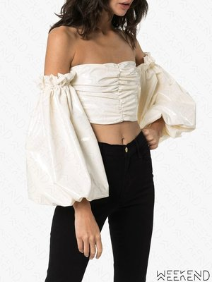 【WEEKEND】 ROTATE Phoebe 低胸 抓皺 後拉鍊 短版 露肩 上衣 白色 折扣