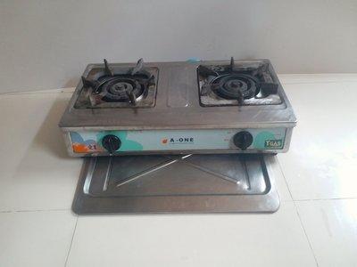愛王雙口瓦斯爐 AO1820[雙管+三環+銅爐頭+全不鏽鋼+安全熄火]耐用,功能正常,原價4500