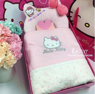 春夏秋冬女寶寶抱被嬰兒用品粉色凱蒂貓睡...