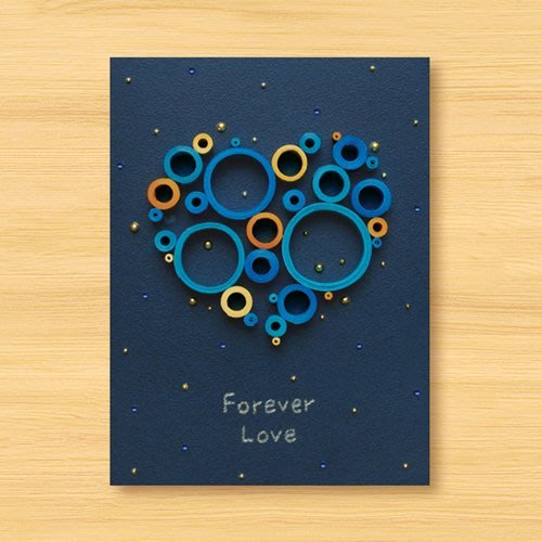 【Dino小恐龍:手創館】手工捲紙卡片:星空系列 - 來自遠方的愛戀 ‧ 愛心夢幻泡泡 Forever Love