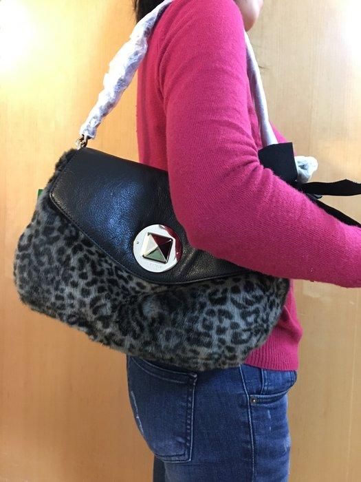 KATE SPADE 豹紋羊皮肩背包 經典扣環絕版品 (100%全新,保證真品,未剪標,附原廠防塵袋)