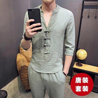 中式唐裝套裝 中國風男裝改良式 漢服居士復古短袖兩件套青年民族服裝
