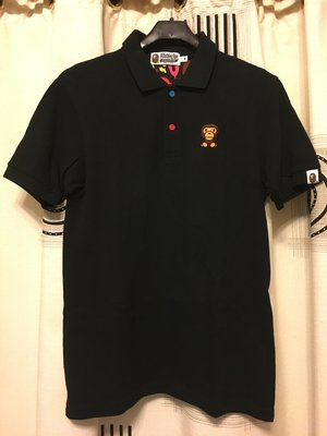 日本製 二手真品 a batching ape 黑色 刺繡 polo衫