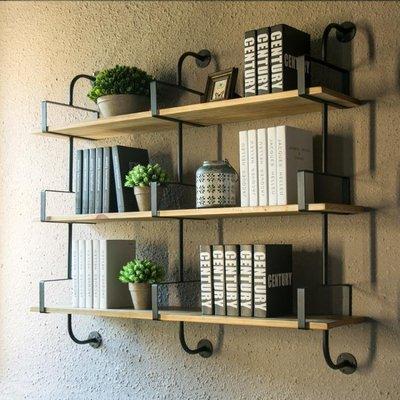墻上置物架實木掛墻一字隔板書架客廳壁掛臥室墻壁墻面柜掛壁層板-買了否冷