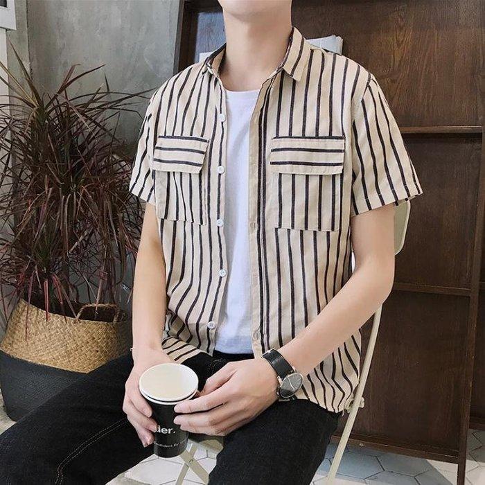 短袖條紋襯衫 條紋男寬松潮流休閒青年學生襯衣t351