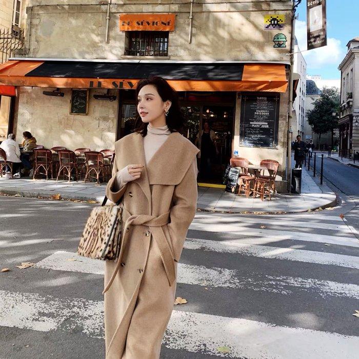 ❤JM SHOP韓風❤氣質小姐姐赫本風大翻領繫帶全羊毛雙面呢大衣