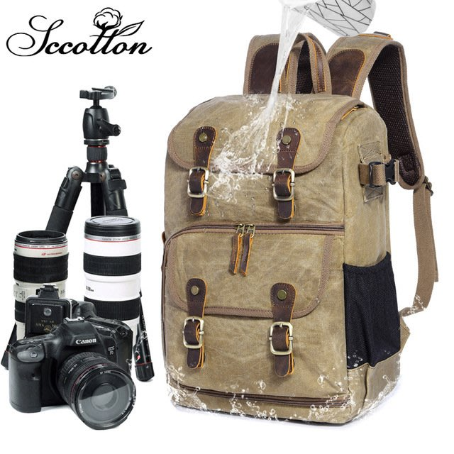 新款攝影包相機單反雙肩攝影背包防水大容量臘染帆布背包戶外包
