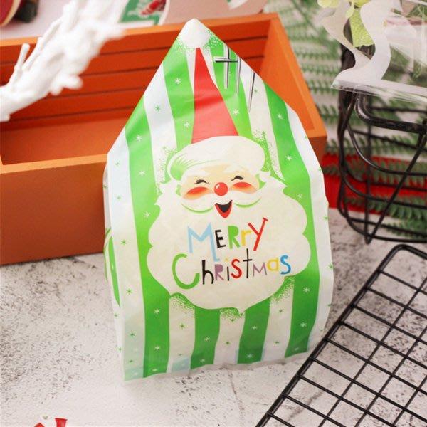 聖誕節HI綠白底翹眉毛老人平口袋 糖果袋 禮物袋 (50入)【XM0261】《Jami Honey》