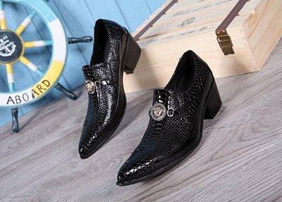 個性時裝男皮鞋 時尚英倫尖頭發型美發理發師高跟男皮鞋真皮蛇紋透氣套腳低幫男鞋