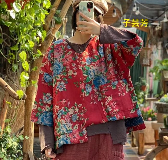 【子芸芳】原創復古文藝懷舊大花V領短夾棉衣外套