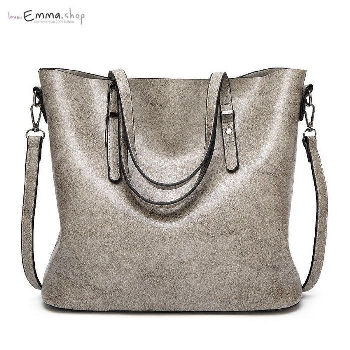 EmmaShop艾購物-歐美韓流時尚油蠟牛皮兩用托特包斜背包-灰色/可搭洋裝涼鞋托特包尼龍媽媽包