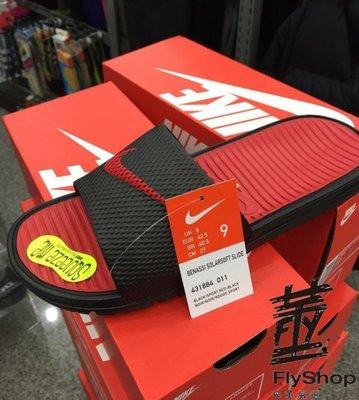 [飛董] NIKE BENASSI SOLARSOFT SLIDE 運動拖鞋 男女 431884-011 黑紅
