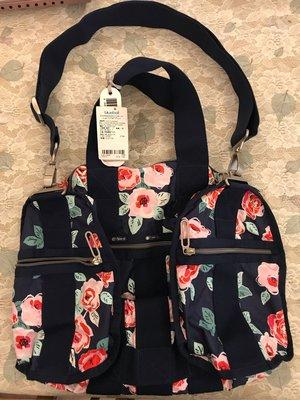 最後一個超低愛美分享價$3600(含運)保證真品Lesportsac 玫瑰花全新台灣藍鐘公司貨, 中型絕版超級輕量旅行袋