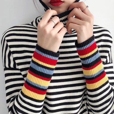 【Princesses 】 韓版高領條紋加厚舒適內搭針織衫 @自留款