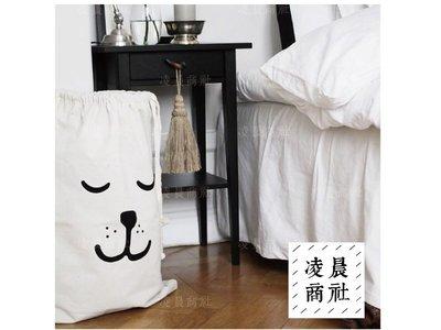 凌晨商社 //北歐 黑白簡約設計 可愛  兒童房間 玩具收納 拉繩帆布袋  閉眼熊熊款下標區