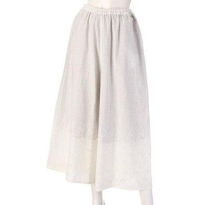 Cloudnine 綿麻舒適刺繡褲裙   米色/黑色 兩款