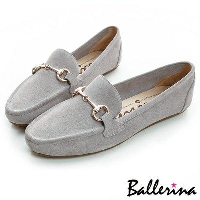 Ballerina-牛麂皮金屬鍊樂福鞋-灰【BS700008AY】