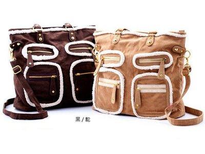 質感溫暖潮流韓版多口袋鉚釘大包包(現貨雙色)0013
