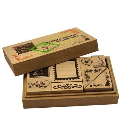 《散步生活雜貨-印章散步》日本進口 L.Fact- Set Stamp 兔子款 木盒印章組-777ST