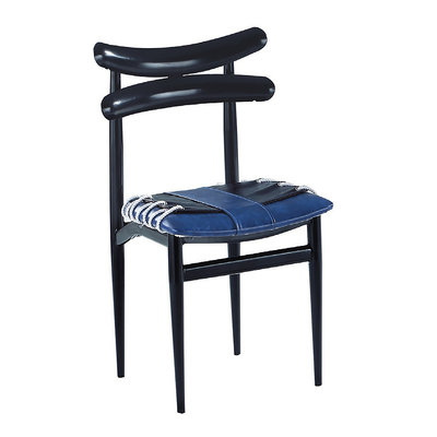 【在地人傢俱】20 幸福購-牛角帶繩工業風藍色黑色雙色皮面休閒椅/餐椅 CS936-14